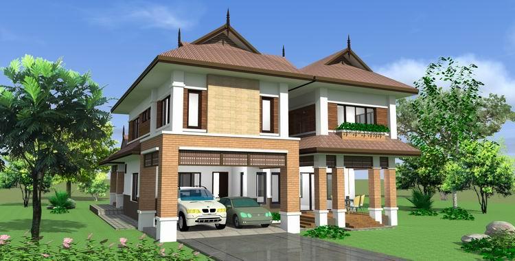 บ้านไทยสองชั้น สามห้องนอน