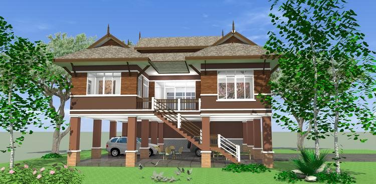 บ้านทรงไทยประยุกต์ 2 ห้องนอน